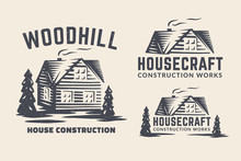 Vector Logo With A Small House And Trees. Logo For A House Repair, Construction And Building.