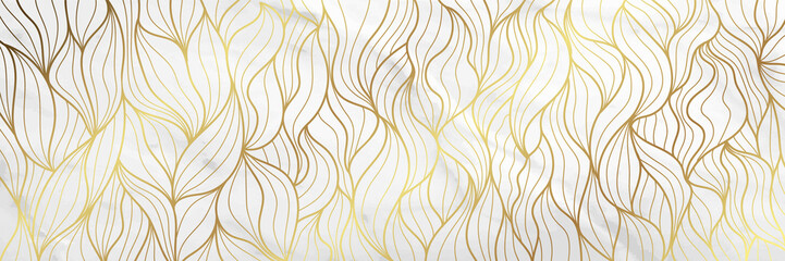 Luxury Gold marble design with nature floral pattern 17:9 Wallpaper background.