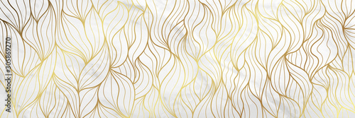 Obraz Luxury Gold marble design with nature floral pattern 17:9 Wallpaper background. - fototapety do salonu