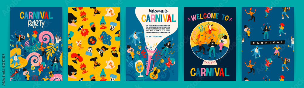 Fototapeta Hello Carnival. Vector set of illustrations for carnival concept and other use.
