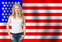 Happy American Girl Against Th...