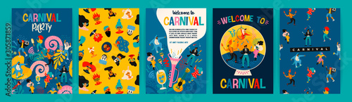 Fototapeta Hello Carnival. Vector set of illustrations for carnival concept and other use. obraz