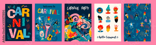 Obraz Hello Carnival. Vector set of illustrations for carnival concept and other use. - fototapety do salonu