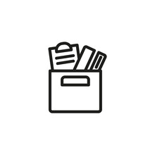 Redundancy Thin Line Icon. Fired, Stuff, Box Isolated Outline Sign. Discrimination Concept. Vector Illustration Symbol Element For Web Design And Apps