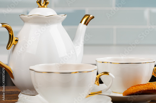 Close up photo of porcelain dishware for tea