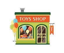 Toys Shop Flat Vector Illustra...