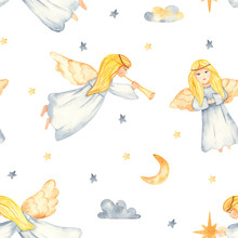 Christmas Angels Watercolor Seamless Pattern