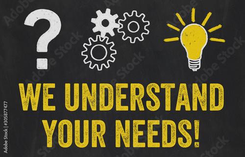 Fotografia Question Mark, Gears, Light Bulb Concept - We understand your needs