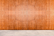 Wood Wall With Concrete Floor.