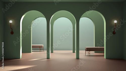Photo Classic eastern lobby, modern colored hall with stucco walls, interior design ar