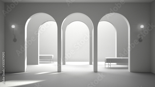 Slika na platnu Total white project draft, classic eastern lobby, modern hall with stucco walls,
