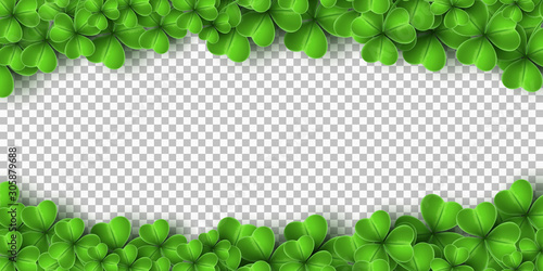 Obraz Banner for Saint Patricks Day. Realistic green clovers isolated on transparent background. Vector illustration - fototapety do salonu