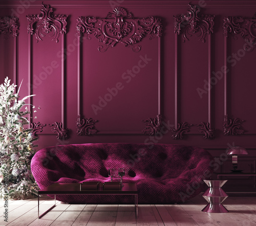 Cozy Christmas home interior with Xmas tree and sofa, Classic style, purple color interior, 3d render Wall mural