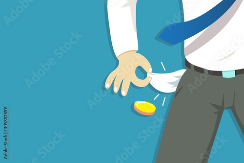 Fotomural Vector illustration of poor businessman hand showing his empty pockets for design