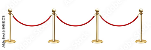 Realistic vector golden rope barriers Fototapete