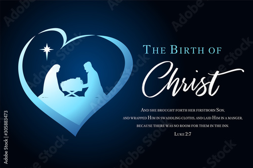 Fotografía  Christmas scene of baby Jesus in the manger with Mary and Joseph silhouette in heart
