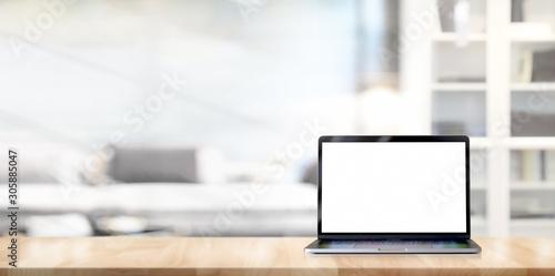 Fototapeta Mock up laptop on loft office desk obraz