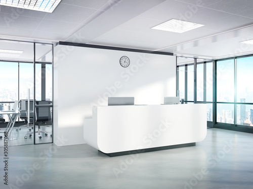 Foto Blank white reception desk in concrete office with large windows Mockup 3D rende