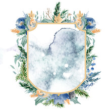 Watercolor Crest Winter Floral...