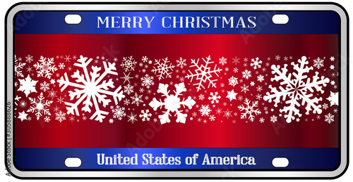 Merry Christmas Patriotic Number Plate Canvas Print