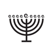 Menorah Silhouette Of Star Of David On White Isolated Background. Vector Image. Design Element.
