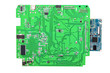 canvas print picture - green computer board with microchips. background for design