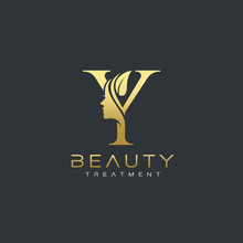 Y Letter Luxury Beauty Face Logo Design Vector