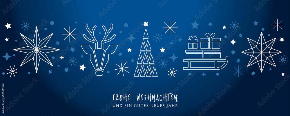 Fototapeta Weihnachtsgruss blauer Hintergrund - Sterne, Weihnachtsbaum, Rentier und Geschenke auf Schlitten - deutsch