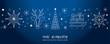 Weihnachtsgruss blauer Hintergrund - Sterne, Weihnachtsbaum, Rentier und Geschenke auf Schlitten - deutsch