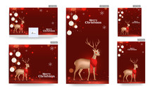 Set Of Merry Christmas Celebration Poster And Template Design With Golden Reindeer Wearing Scarf And Hanging Baubles On Red Bokeh Effect Background.