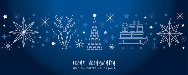 Fototapeta na wymiar Weihnachtsgruss blauer Hintergrund - Sterne, Weihnachtsbaum, Rentier und Geschenke auf Schlitten - deutsch