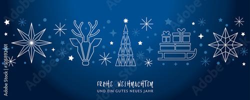 Weihnachtsgruss blauer Hintergrund - Sterne, Weihnachtsbaum, Rentier und Geschenke auf Schlitten - deutsch - 305892601