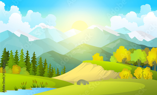 Spoed Foto op Canvas Lime groen Vector illustration of beautiful summer fields landscape with a dawn, green hills, bright color blue sky, country background in flat cartoon style banner