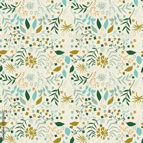 Seamless floral pattern with flowers and leaves Fototapeta
