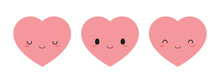 Set Of Cute Pink Heart Icons. ...