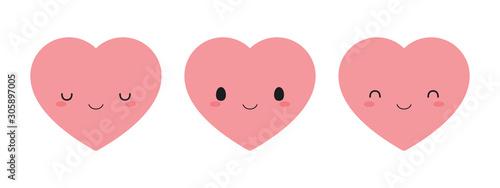 Set of cute pink heart icons. Flat vector illustration. Fototapeta