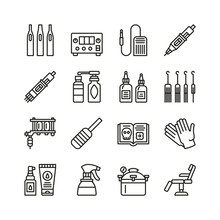Tattoo Equipment Line Icon Set...