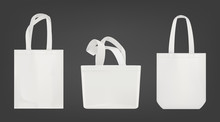 Tote Shopping Canvas Bags. Vector Mockup Of Realistic White Reusable Cotton Ecobags Different Shapes Isolated On Gray Background.