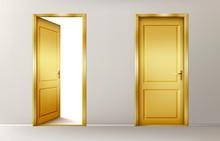 Golden Doors. Vector Set Of Re...