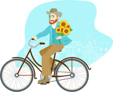 Man Riding Vintage Bike With Bunch Of Sunflowers