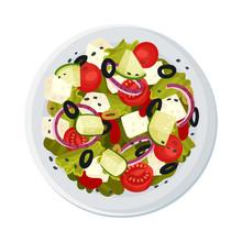 Greek Salad Served On Plate Top Viewed Vector Illustration