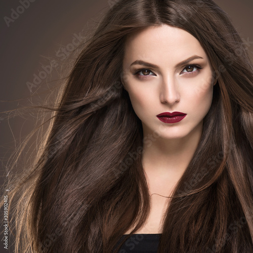 Fototapety, obrazy: Beautiful hair woman long smooth hairstyle red lipstick brown backrgound