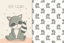 Cute Raccoon Illustration And ...