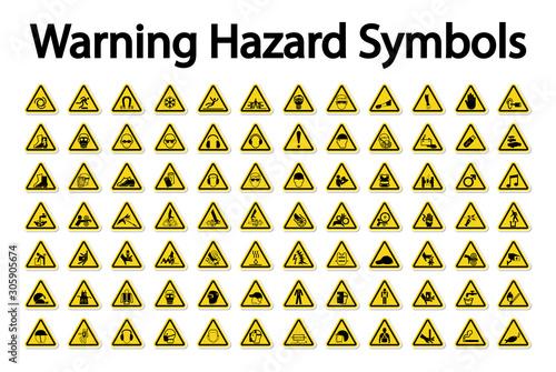 Fotografie, Obraz Warning Hazard Symbols labels Sign Isolate on White Background,Vector Illustrati