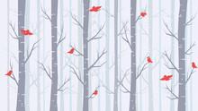 Blue Background: Winter Forest...