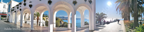 Photo Photograph of tourist spaces in the town of Nerja, Málaga, one of the white vill