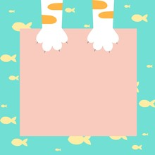 Cute Yellow Tabby Cat Hold Pink Paper And Yellow Fish On Blue Background