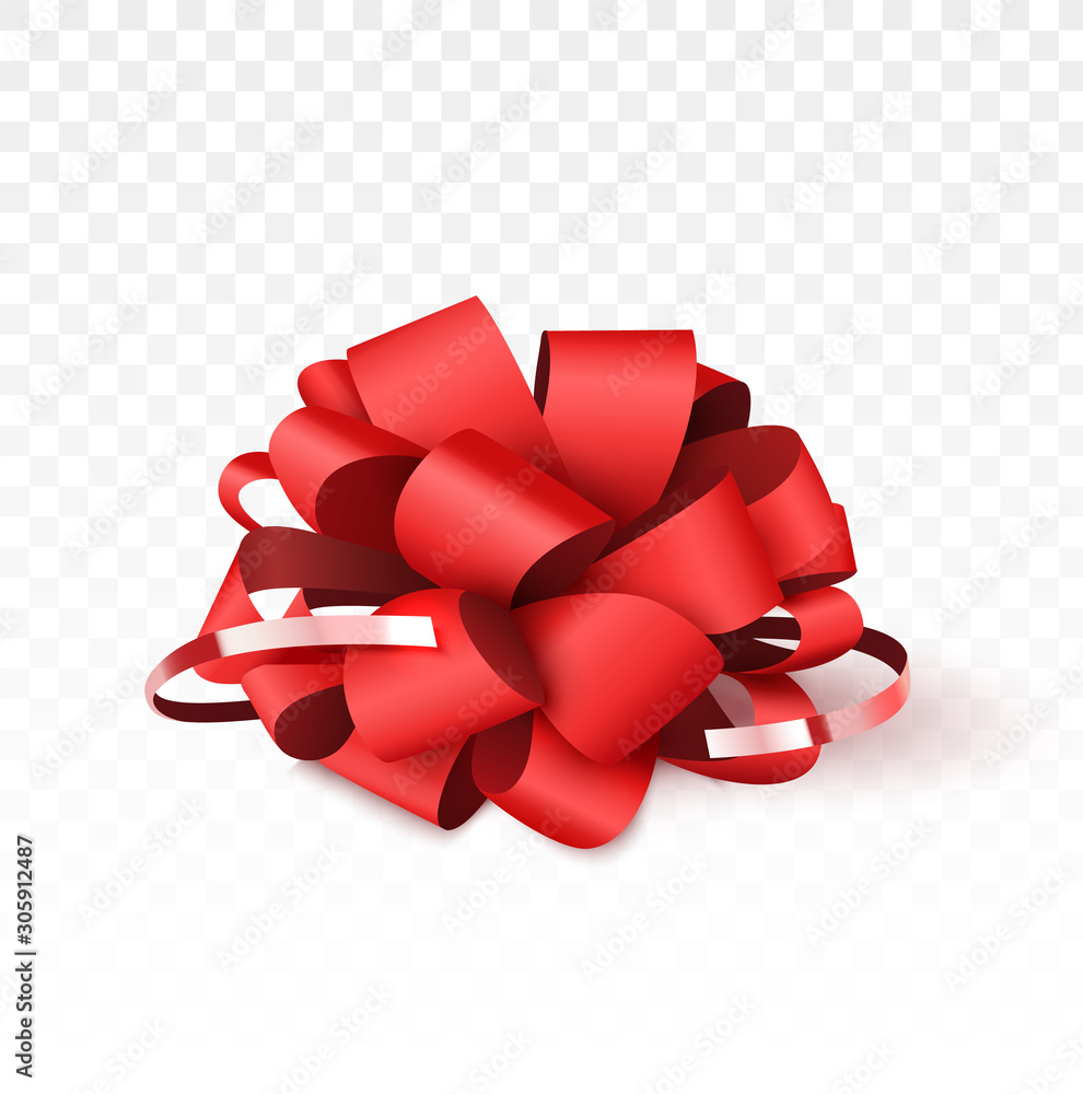 Fototapeta Red bow isolated on white background, Christmas decoration for gift boxes. Vector illustration