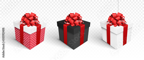 Obraz Gift boxes isolated on white - fototapety do salonu