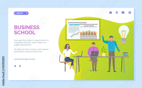 Fototapeta Business school vector, person showing information on board, teacher with presentation for students, ideas generation on seminar, workshop. Website or webpage template, landing page flat style obraz
